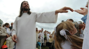 In this file photo taken on August 28, 2009 shows 'Jesus of Siberia,' Russian ex-traffic cop Sergei Torop, meeting with his followers in the remote village of Petropavlovka. He was arrested on Tuesday. (AFP)