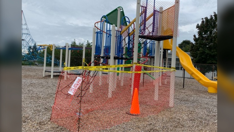 Burnaby RCMP say a slide worth thousands of dollars was stolen from a local elementary school. (Burnaby RCMP/Twitter)