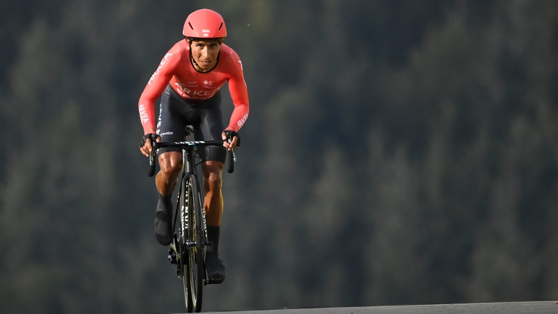 Colombia's Nairo Quintana climbs during stage 20 of the Tour de France cycling race, an individual time trial over 36.2 kilometers (22.5 miles), from Lure to La Planche des Belles Filles, France, Saturday, Sept. 19, 2020. (Marco Bertorello/Pool via AP)