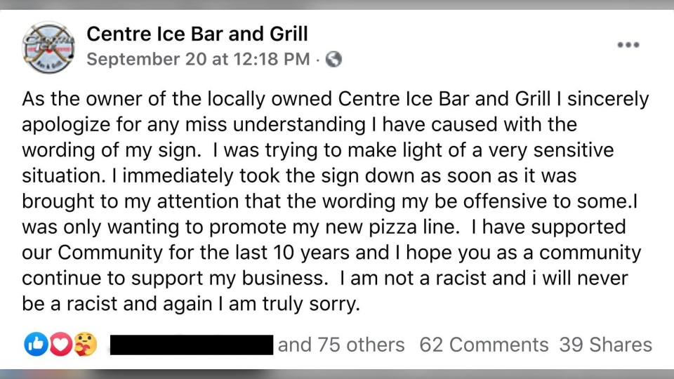 Centre Ice Bar and Grill apology posted on social media for promotional sign that provoked outrage. (Facebook)