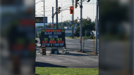 Sign promoting new pizza menu sparked outrage in Sault Ste. Marie. (CTV Northern Ontario)