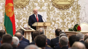 Belarusian President Alexander Lukashenko delivers a speech during his inauguration ceremony at the Palace of the Independence in Minsk, Belarus, Wednesday, Sept. 23, 2020. (Maxim Guchek, BelTA/Pool Photo via AP)