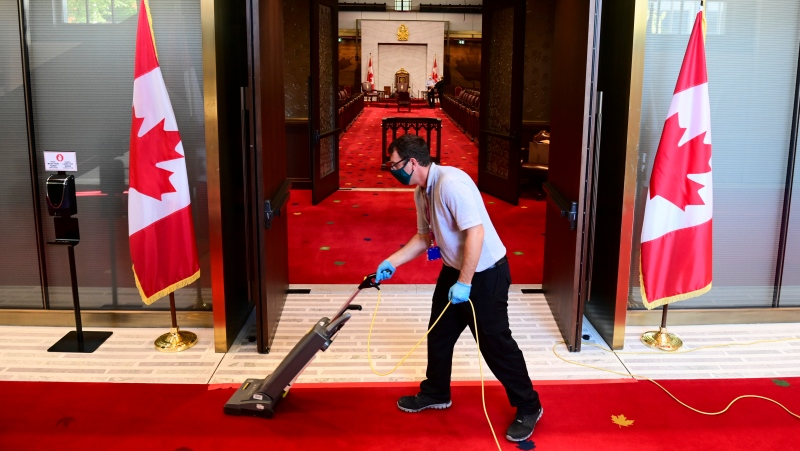 Final preparations are made to the Senate in advance of the Speech From The Throne in Ottawa on Wednesday, Sept. 23, 2020. THE CANADIAN PRESS/Sean Kilpatrick