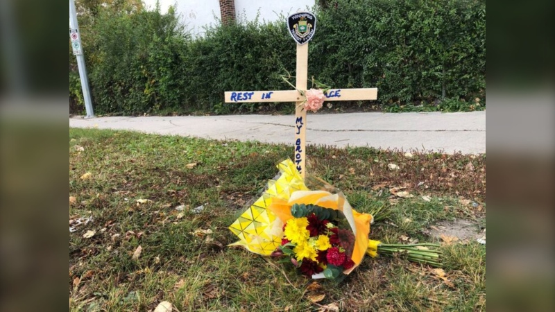 A memorial set up for the bus driver. (Source: Ken Gabel/CTV News)