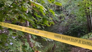 The area where police say a man was set on fire in Campbell River on Sept. 22, 2020. (RCMP)