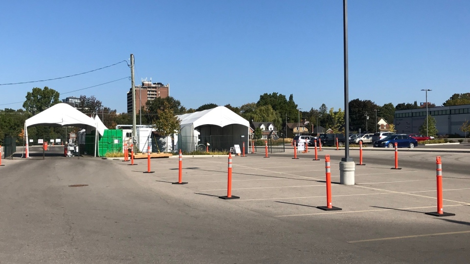 The drive-thru COVID-19 testing centre in Kitchener, Ont., seen on Sept. 23, 2020. (Dan Lauckner / CTV Kitchener)