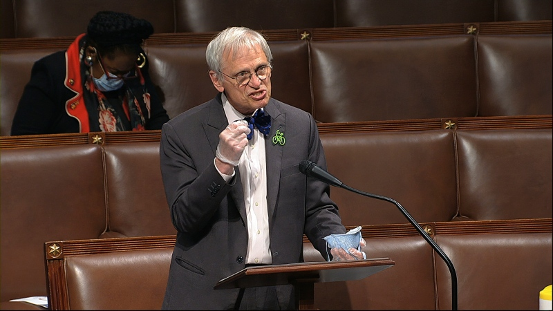 In this image from video, Rep. Earl Blumenauer. D-Ore., speaks on the floor of the House of Representatives at the U.S. Capitol in Washington, Thursday, April 23, 2020. (House Television via AP)