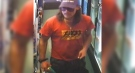 A suspect sought in a gas bar robbery in London, Ont. on Friday, Sept. 4, 2020 is seen in this image released by the London Police Service.