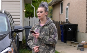 Ashley Lennie applied pressure to a stabbing victim's wounds on Sept. 21. (Francois Biber/CTV Saskatoon)