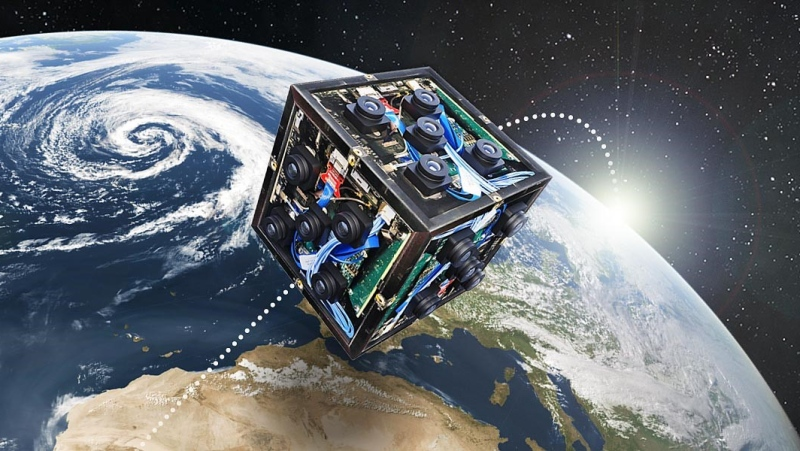 A prototype CubeSat satellite is seen in this image provided by Western University.