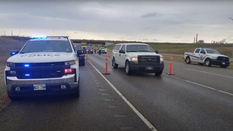 Drivers on Highway 110 south of the Trans-Canada Highway near Brandon were met with a check stop from the Canadian Pacific Police Service, along with Manitoba Compliance Officers and officers from the Rural Municipality of Cornwallis. (Source: James Didyk)