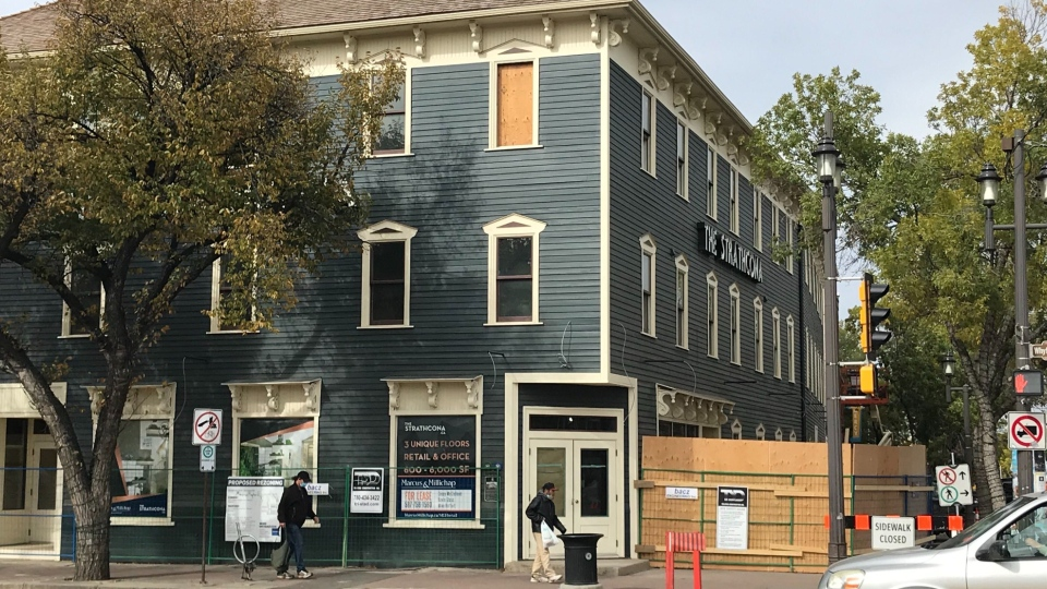 Renovation to turn the old Strathcona Hotel on Whyte Avenue into three floors of retail and restaurant space revealed a below-ground entrance.