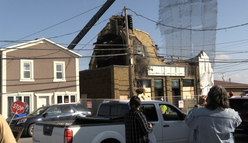 South Porcupine's historic Central Tavern is the first of three buildings being torn down by reality TV demolition crew 'Salvage Kings,' which the city has contracted to do the work. The tavern stood as a local landmark for around 120 years before falling into disrepair. (Sergio Arangio/CTV News)
