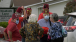 Members of the Brockville and District Shrine Club delivered hot meals to residents in Brockville on Wednesday. (Nate Vandermeer/CTV News Ottawa)