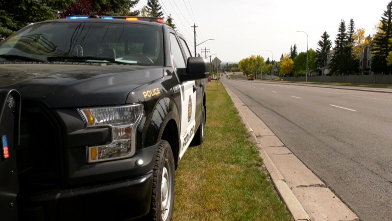 Calgary police conducted an extensive search of an area in Patterson Heights Wednesday where a suspect in a fatal stabbing was located.