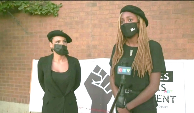 Members of the Black Lives Matter Sudbury chapter were invited to speak to city council Tuesday night by Ward 4 Coun. Geoff McCausland. The presentation was streamed live during the meeting from the Sudbury Theatre Centre. (CTV News)