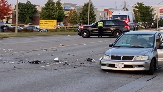 Police respond to a crash on Fairway Road on Sept. 23, 2020 (Terry Kelly / CTV News Kitchener)