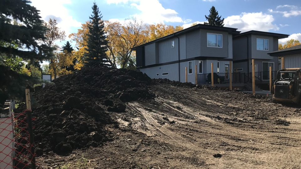 This dirt pile sits on the site of a future infill home in Edmonton's North Glenora neighbourhood (Matt Marshall/CTV News)