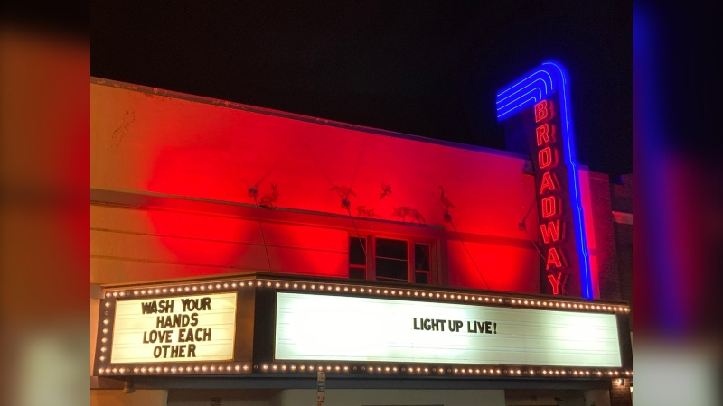 Broadway Theatre lit its building to raise awareness of the toll COVID-19 has taken on the business. (Twitter)