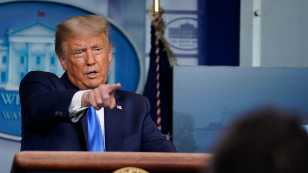 U.S. President Donald Trump speaks during a news conference in the James Brady Press Briefing Room of the White House Wednesday, Sept. 23, 2020, in Washington. (AP Photo/Evan Vucci)