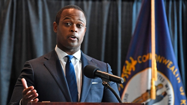 Kentucky Attorney General Daniel Cameron addresses the media following the return of a grand jury investigation into the death of Breonna Taylor, in Frankfort, Ky., Wednesday, Sept. 23, 2020. (AP Photo/Timothy D. Easley)
