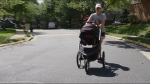 Trying out jogging strollers