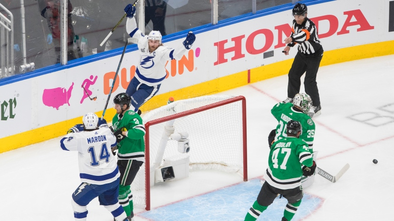 Tampa Bay Lightning centre Steven Stamkos (91) celebrates his goal against Dallas Stars goaltender Anton Khudobin (35) during first period NHL Stanley Cup finals action in Edmonton on Wednesday, September 23, 2020. THE CANADIAN PRESS/Jason Franson