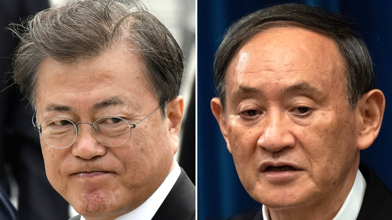 This combination of file photos show South Korean President Moon Jae-in, left, taken in Gwangju on May 18, 2020, and Japanese Prime Minister Yoshihide Suga, right, taken in Tokyo on Sept. 16, 2020. (AP Photo/File)