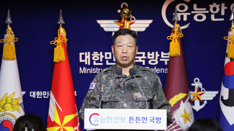 Lt. Gen. Ahn Young Ho, a top official at the South Korean military's office of the Joint Chiefs of Staff, speaks during a press conference at the Defense Ministry in Seoul, South Korea, Thursday, Sept. 24, 2020. (The Kookbang Ilbo via AP)