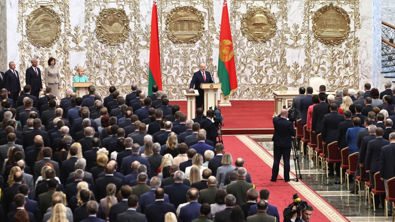 Belarusian President Alexander Lukashenko takes his oath of office during his inauguration ceremony at the Palace of the Independence in Minsk, Belarus, Wednesday, Sept. 23, 2020. (Sergei Sheleg/Pool Photo via AP)