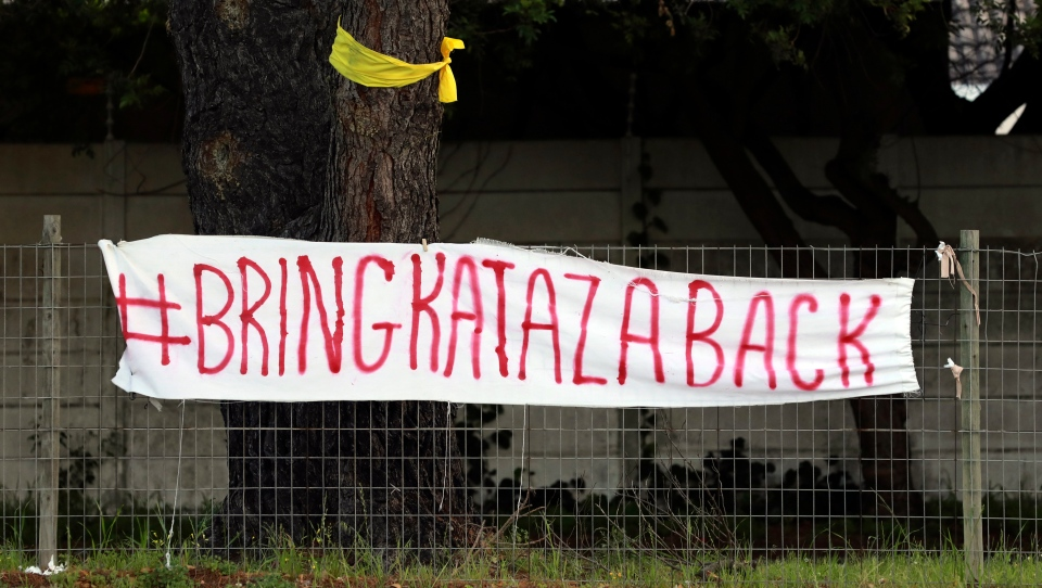 A banner calls for Kataza's return in Tokai, Cape Town, South Africa, Thursday, Sept. 17, 2020. (AP Photo/Nardus Engelbrecht)