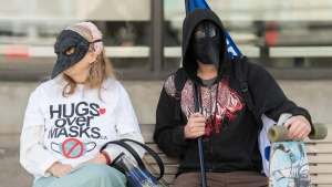 People wear masks during a demonstration opposing the mandatory wearing of face masks and coverings in Montreal, Saturday, September 19, 2020. THE CANADIAN PRESS/Graham Hughes