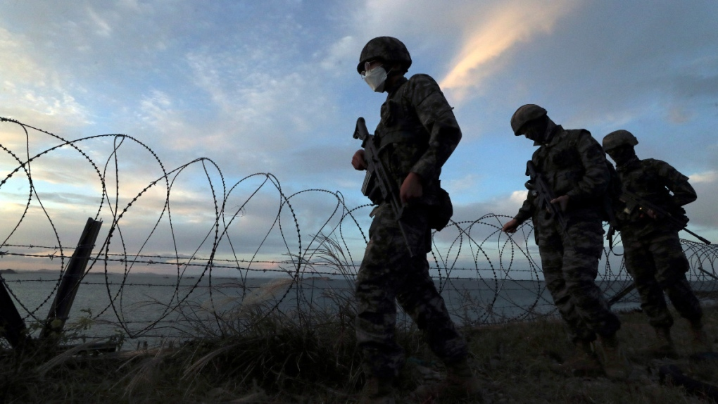 South Korean Marines patrol on Yeonpyeong Island