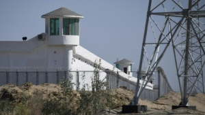 Watchtowers on a high-security facility at what is believed to be a re-education camp in China's Xinjiang region. (AFP)