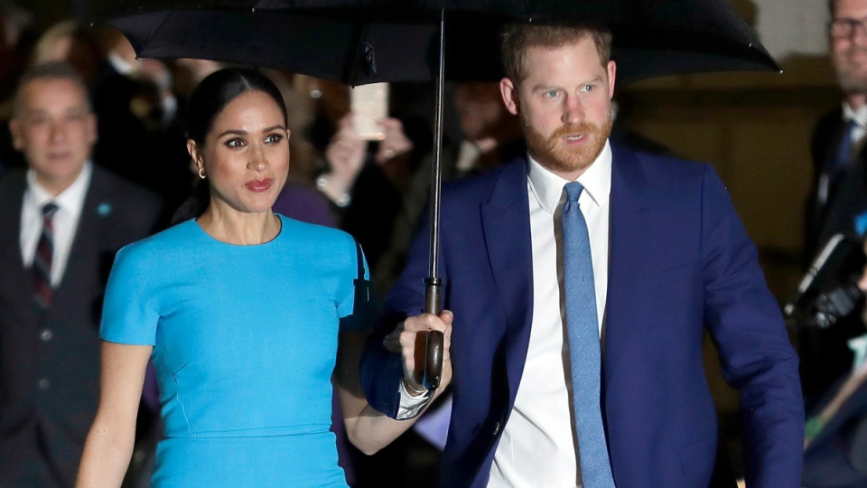 Prince Harry and Meghan, the Duke and Duchess of Sussex in London on March 5, 2020.  (Kirsty Wigglesworth / AP)