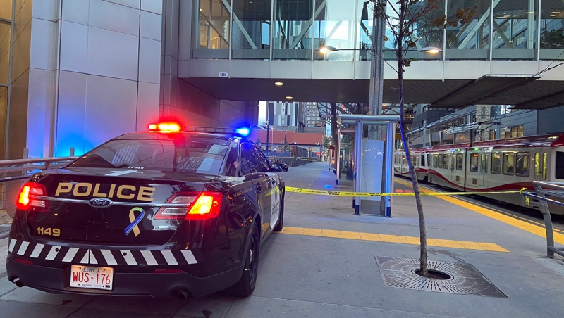 A CPS vehicle and police tape block access to the Eighth Street LRT station following an early morning stabbing