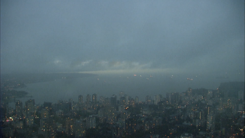 Clouds are seen over the Vancouver skyline in September 2020.