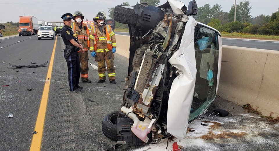 Emergency Crews assess the damage of a collision on Highway 401 on Thursday, Sept 24, 2020. (Source: OPP Twitter)