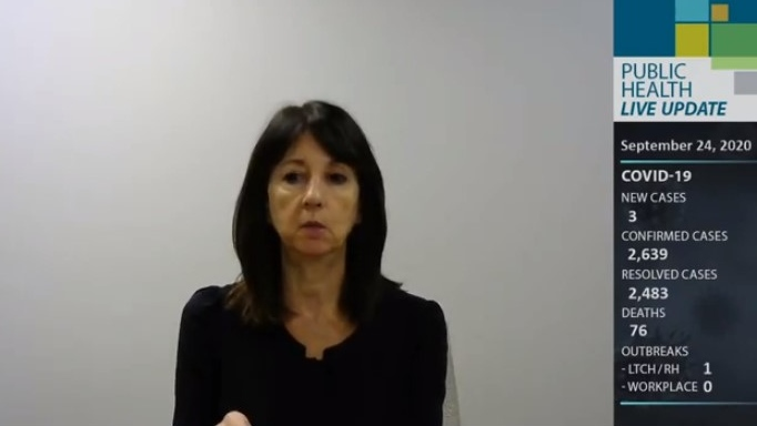 Health unit CEO Theresa Marentette in Windsor, Ont. (Source: WECHU / YouTube)