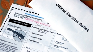 This May 26, 2020 file photo shows an Official Democratic General Primary mail-in ballot and secrecy envelope, for the Pennsylvania primary in Pittsburgh. (AP Photo/Gene J. Puskar, File)