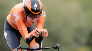 Anna van der Breggen competes during the women's Individual Time Trial event at the road cycling World Championships in Imola, Italy, on Sept. 24, 2020. (Andrew Medichini / A{)