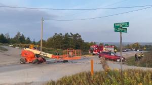 The scene of a fatal crash in Erin on Thursday, Sept. 24, 2020. (@OPP_WR / Twitter)