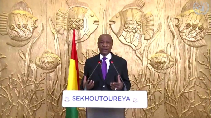 In this image made from UNTV video, Alpha Conde, President of Guinea, speaks in a pre-recorded message which was played during the 75th session of the United Nations General Assembly, Thursday Sept. 24, 2020, at UN headquarters, in New York. (UNTV via AP)