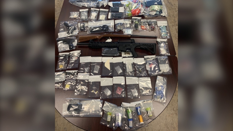 Police seized drugs and weapons while executing six simultaneous search warrants at homes in Perth-Andover, Johnville, Tobique Narrows and on the Tobique First Nation on Sept. 23, 2020. (RCMP)