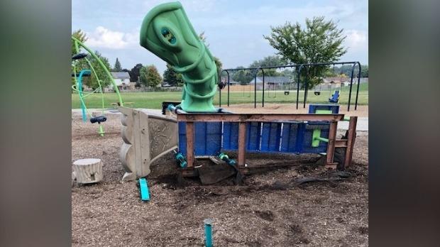 Playground equipment damaged