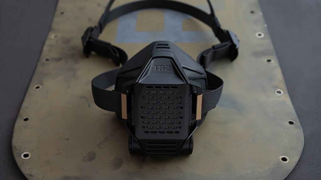 A black respirator