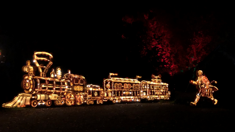 Pumpkins will light up the night during Pumpkinferno at Upper Canada Village until Oct. 31. (Nate Vandermeer/CTV News Ottawa)