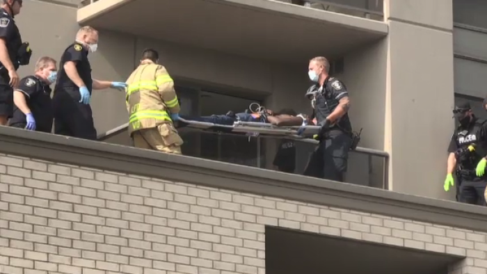 First responders are on scene on Thursday, Sept. 24, 2020 after police say a man fell from a balcony at a King Street apartment in London, Ont. 