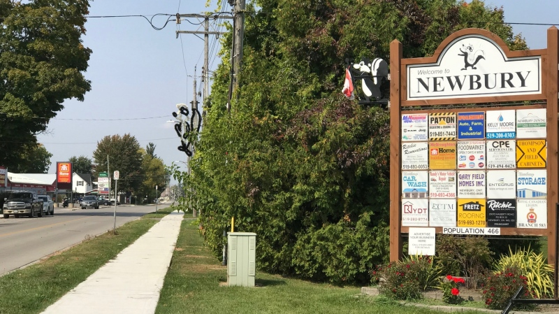 A sign welcoming visitors to Newbury, September 23, 2020 (Reta Ismail / CTV News)