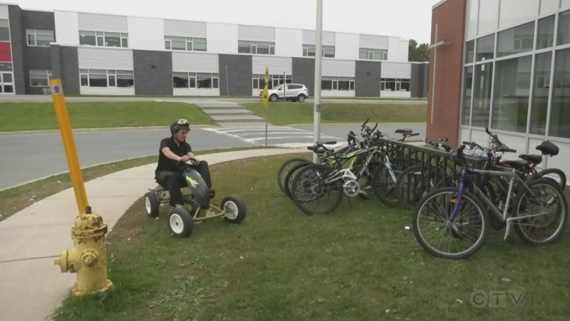 After his school bus route was cancelled, Griffin Whorley has turned some heads in New Sudbury with his daily ride to school: a go-kart.